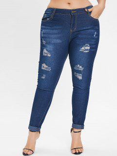 Distressed Plus Size Jeans - Denim Dark Blue L