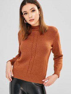 Cable Knitted Mock Neck Sweater - Brown