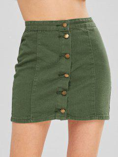 Button Up A Line Skirt - Camouflage Green L