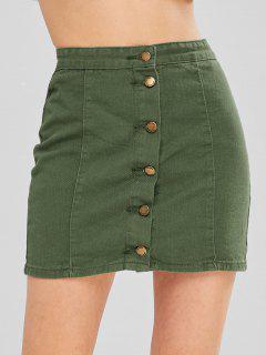 Botón Hasta Una Falda De Línea - Verde Camuflaje L