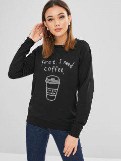 Coffee Letter Graphic Sweatshirt - Black M