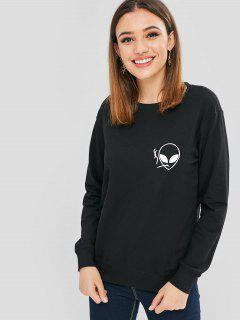 Smoking Aliens Graphic Cute Sweatshirt - Black S