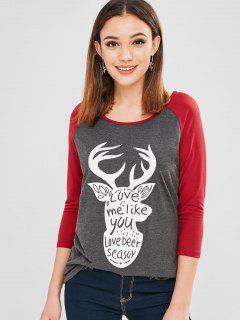 Camiseta De Béisbol De Navidad Con Estampado De Alces De Túnica - Gris Oscuro S