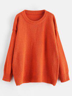 Pull Oversize Bicolore à épaules Dénudées - Orange Citrouille