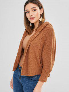 Open Front Hooded Batwing Cardigan - Brown
