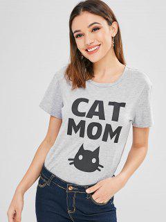 Camiseta Linda De Mamá De Manga Corta Para Gatos - Nube Gris M