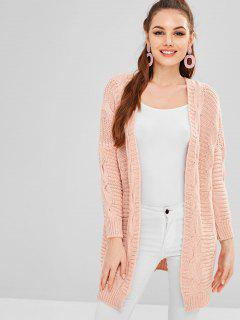 Cable Knit Open Loose Tunic Cardigan - Pink