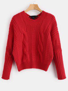 Contrast Bow Dolman Cable Knit Sweater - Red