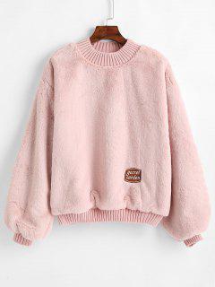 Patched Plain Fluffy Faux Fur Sweatshirt - Light Pink