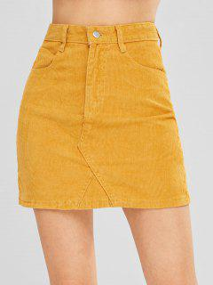 Una Falda De Pana De Línea - Amarillo Brillante S