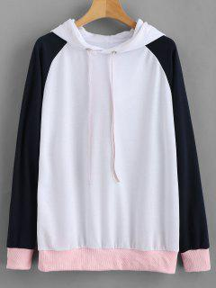 Pullover Color Block Baseball Hoodie - White M