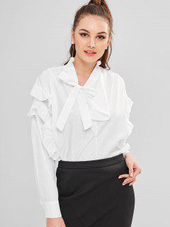 Blusa Con Cuello En V - Blanco M