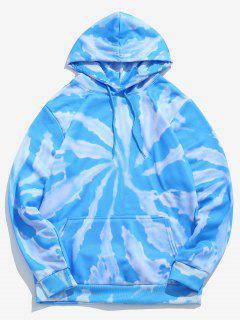 Tie Dye Print Fleece Hoodie - Sky Blue S