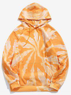 Tie Dye Print Fleece Hoodie - Yellow M