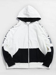 Two Tone Full Zipper Fleece Hoodie - White 2xl