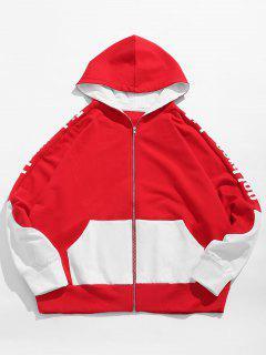 Two Tone Full Zipper Fleece Hoodie - Lava Red Xl