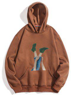 Leg Print Pocket Fleece Hoodie - Coffee S
