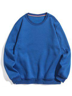 Solid Basic Fleece Sweatshirt - Blue L