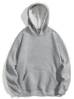 Solid Basic Fleece Hoodie - Gray M