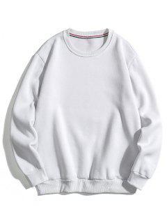 Solid Basic Fleece Sweatshirt - White S