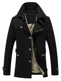 Solid Button Up Jacket - Black M