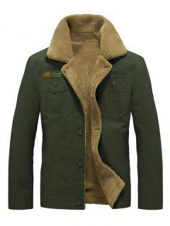 Fluffy Lined Stitch Jacket - Army Green S