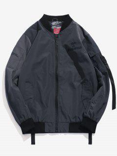 Embroidered Letter Stripe Bomber Jacket - Dark Slate Grey Xs