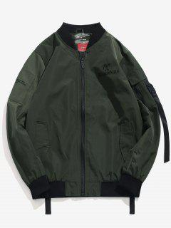 Embroidered Letter Stripe Bomber Jacket - Army Green S