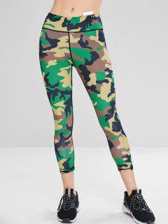 Athletic Camo Sport Gym Leggings - Acu Camouflage M