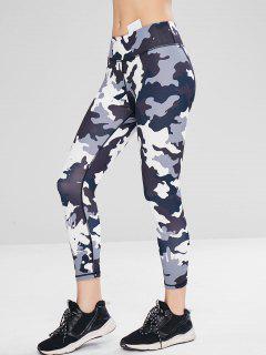 Sport Athletic Camo Gym Leggings - Acu Camouflage L
