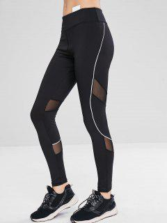 Athletic Mesh Insert Yoga Gym Leggings - Black L