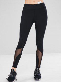 Athletic Mesh Insert Sport Gym Leggings - Black L