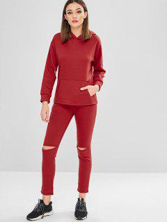 Front Pocket Cut Out Hoodie Pants Set - Red 3xl
