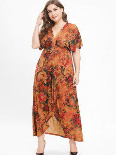 Rückenfreies Plus Size Plunge Flower Langes Kleid - Multi 5x