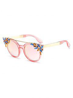 Stylish Rhinestone Floral Crossbar Sunglasses - Pink