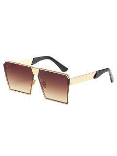 Unique Metal Frame Square Sunglasses - Deep Brown