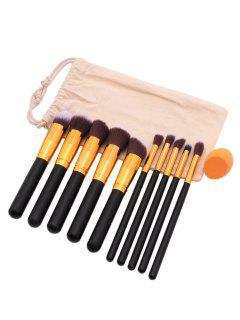 10Pcs Soft Hair Makeup Brush Set Makeup Sponge With Bag - Black