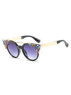 Stylish Rhinestone Floral Crossbar Sunglasses - Light Slate Gray