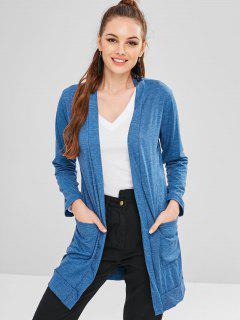 Offener Langer Mantel - Seiden Blau Xl