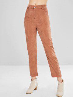 Pantalon En Velours Côtelé à Taille Haute - Saumon Orange M