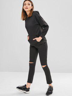 Front Pocket Cut Out Hoodie Pants Set - Black 3xl