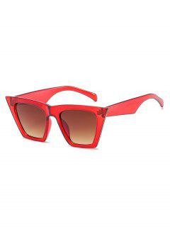 Stylish Flat Lens Catty Sunglasses - Lava Red