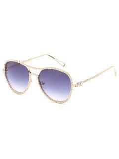 Vintage Rhinestone Inlaid Crossbar Sunglasses - Light Slate Gray