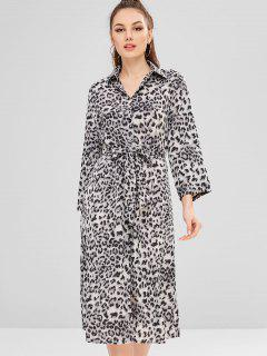 Button Up Leopard Print Belted Dress - Gray L