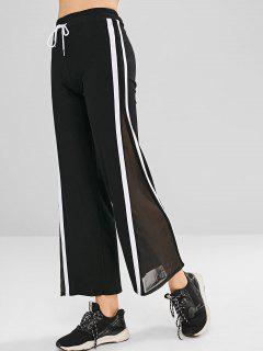 Contrast Mesh Panel Wide Leg Pants - Black L