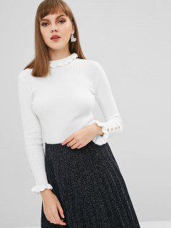 Ruffled Buttoned Ribbed Sweater - White