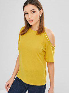 Beaded Cold Shoulder T-shirt - Rubber Ducky Yellow L