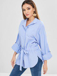Belted Skirted Stripes Blouse - Light Sky Blue L