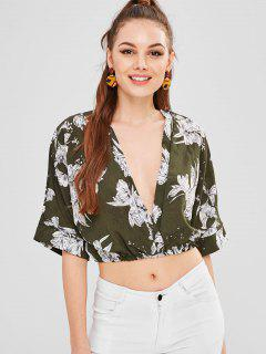 Flower Print Batwing Sleeve Blouse - Army Green M
