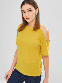 Kaltes Schulter-T-Shirt Mit Perlen - Niedliches Gummi Gelb Xl